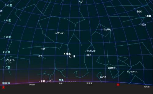 1月30日の月と金星の接近
