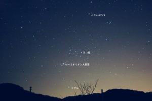 オリオン座とM42オリオン大星雲の位置