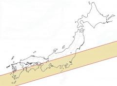 日本白地図日食線着色済