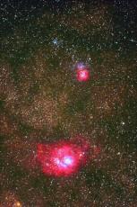 天の川の中に見られるM8干潟星雲, M20三裂星雲