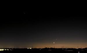 2008年11月1日の月と金星と木星