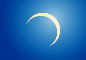 1958年4月19日に大分で見られた日食の様子