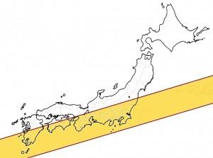 5月21日に金環食が見られる区域