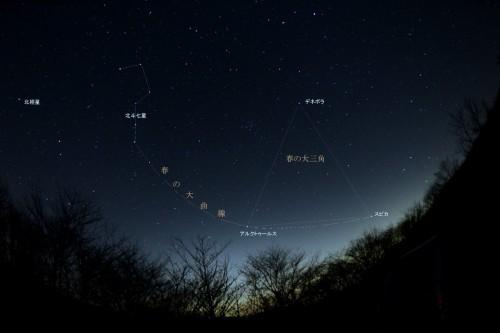 北斗七星から春の大曲線をたどって、うしかい座の1等星アルクトゥールス、おとめ座のスピカをみつけましょう。春の大三角や北極星も探せます(画面をクリックすると大きな画面で見ることができます)