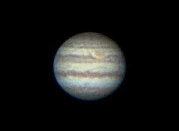 天体望遠鏡で撮影した木星(撮影:浦辺守)