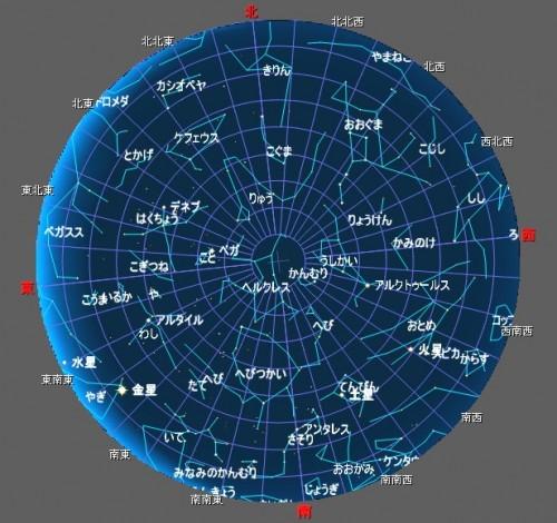 3月10日午前5時の星空(全天)です。火星、土星、金星及び水星の位置が確認できます。 この時刻になると木星は既に西の地平線下に沈んでいて見ることができません。