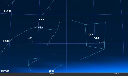 9月28日午後6時30分の土星、月、火星