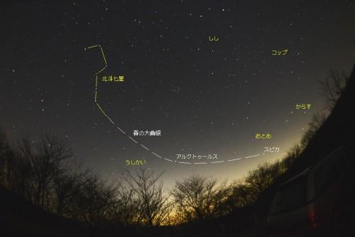本物の星空で広角レンズを利用して撮影した春の大曲線
