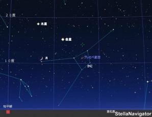 月と金星と木星の接近
