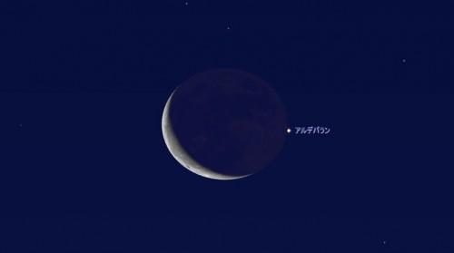 関東以東の地域で観られます。黒い月縁から出現する瞬間の様子(ステラナビゲータ10使用)