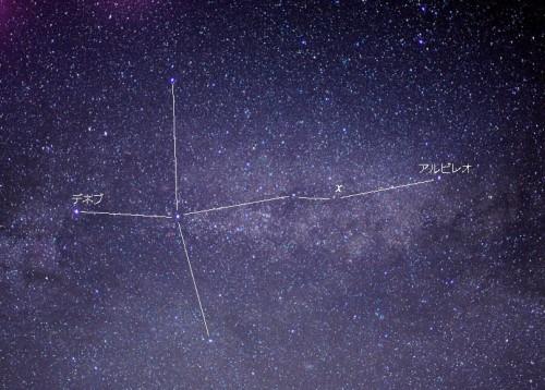 はくちょう座の写真:χ(カイ)星が明るく輝いています