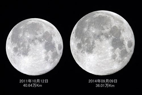 今回の中秋の名月は、スーパームーンと呼ばれますが、これは、地球の周りを公転している月が、楕円軌道を描いており、地球に近いときに満月となる場合と遠い時に満月となる場合で、その見える大きさが異なることから起きる現象で、この写真のようにずいぶんとその大きさに差があることがわかります。(撮影:浦辺守)