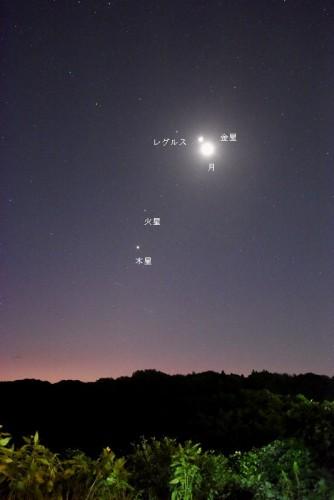 10月9日の月と惑星の位置関係。金星と月が大接近している様子が見えました