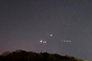 1月13日の金星と土星の位置