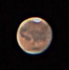 火星の姿(天体望遠鏡で撮影)