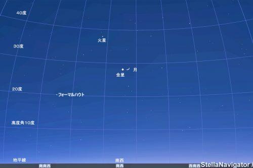 1月2日午後5時30分のシミュレーションです。 月と金星が接近している様子がわかります。 アストロアーツのステラナビゲータ10を用いシミュレーションしました。