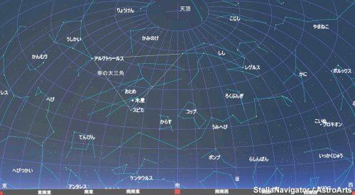 深夜に星空を仰ぎ見ると春の星座でいっぱいです