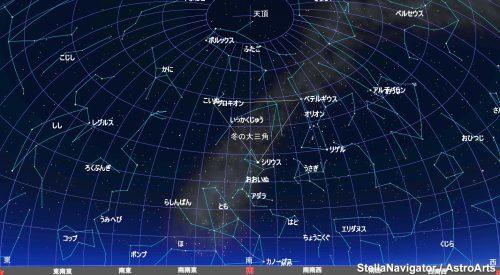 3月中旬午後7時頃の星空です