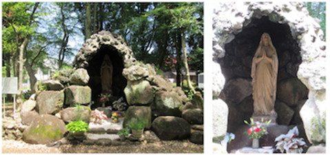 ルルドの洞窟とマリア像