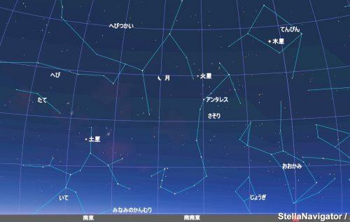 2月10日午前5時30分、南南東の星空