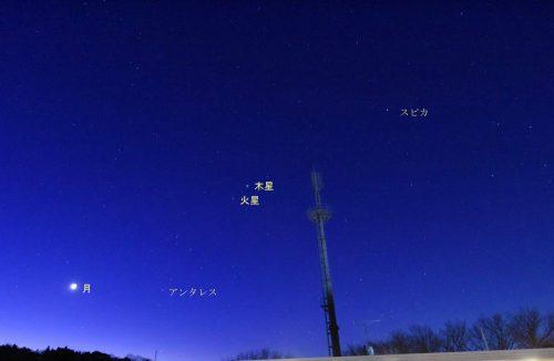 明け方の空に並んだ月、木星、火星、スピカ(2018年1月14日に撮影)